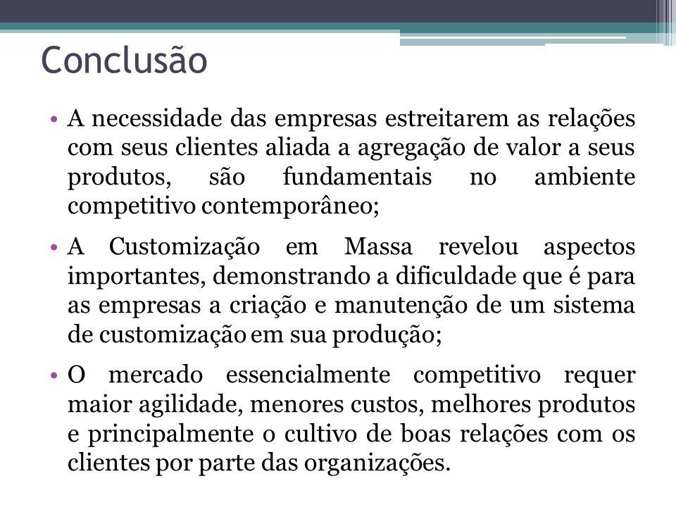 Conclusão A necessidade das empresas estreitarem as relações com seus clientes aliada a agregação de valor a seus produtos, são fundamentais no ambien