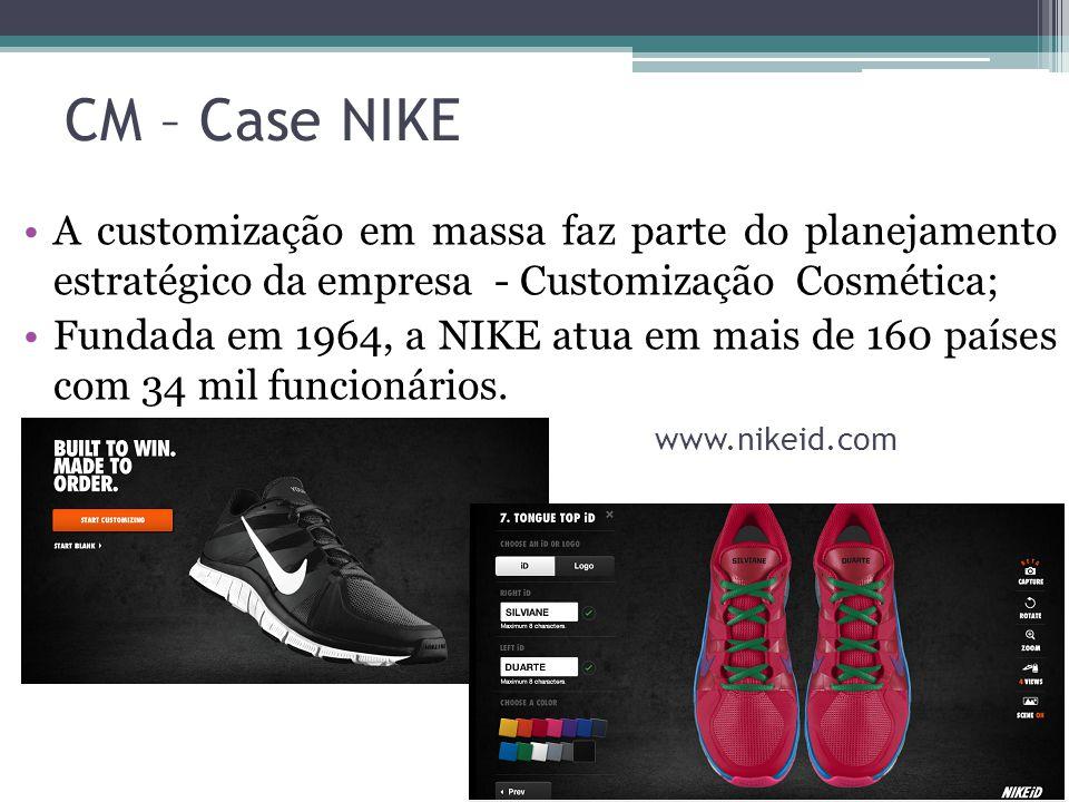CM – Case NIKE A customização em massa faz parte do planejamento estratégico da empresa - Customização Cosmética; Fundada em 1964, a NIKE atua em mais