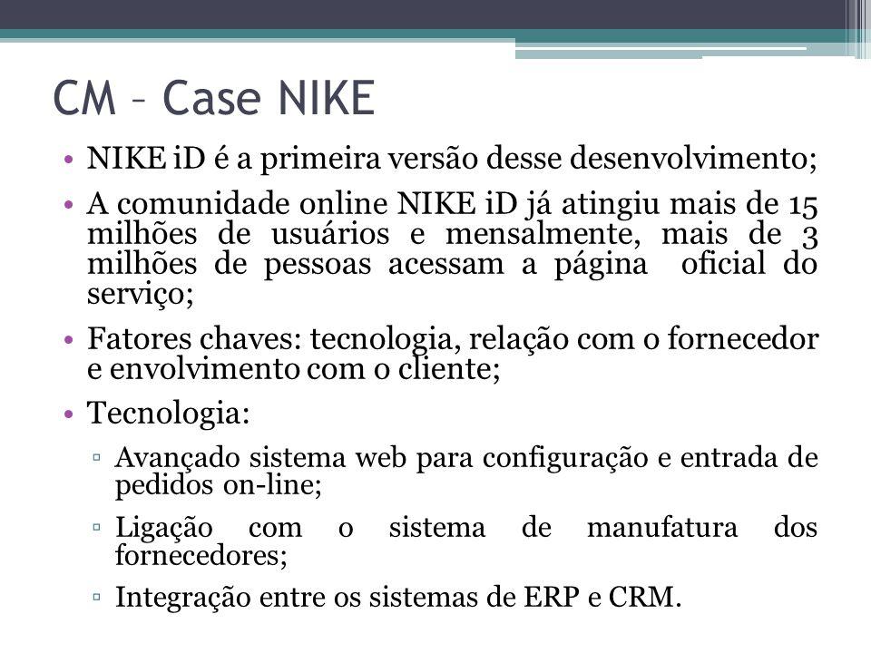 NIKE iD é a primeira versão desse desenvolvimento; A comunidade online NIKE iD já atingiu mais de 15 milhões de usuários e mensalmente, mais de 3 milh