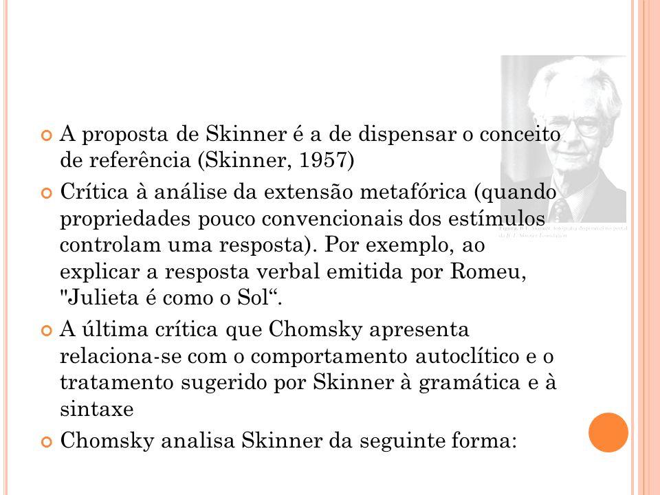 A proposta de Skinner é a de dispensar o conceito de referência (Skinner, 1957) Crítica à análise da extensão metafórica (quando propriedades pouco convencionais dos estímulos controlam uma resposta).