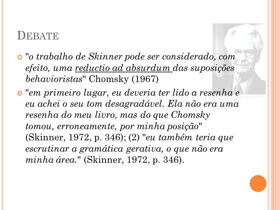 D EBATE o trabalho de Skinner pode ser considerado, com efeito, uma reductio ad absurdum das suposições behavioristas Chomsky (1967) em primeiro lugar, eu deveria ter lido a resenha e eu achei o seu tom desagradável.