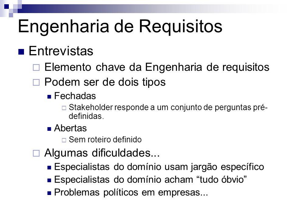 Engenharia de Requisitos Entrevistas  Elemento chave da Engenharia de requisitos  Podem ser de dois tipos Fechadas  Stakeholder responde a um conju