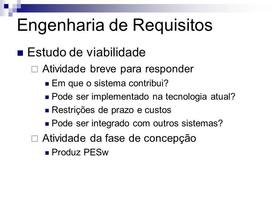 Engenharia de Requisitos Estudo de viabilidade  Atividade breve para responder Em que o sistema contribui? Pode ser implementado na tecnologia atual?
