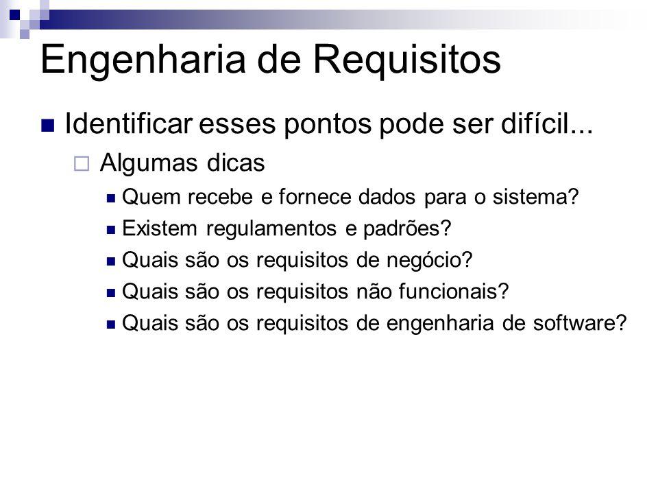 Engenharia de Requisitos Identificar esses pontos pode ser difícil...  Algumas dicas Quem recebe e fornece dados para o sistema? Existem regulamentos
