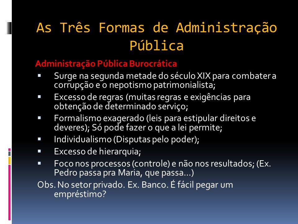 As Três Formas de Administração Pública Administração Pública Patrimonialista: OO rei estabelecia o domínio absoluto sobre o país; SServidores pos