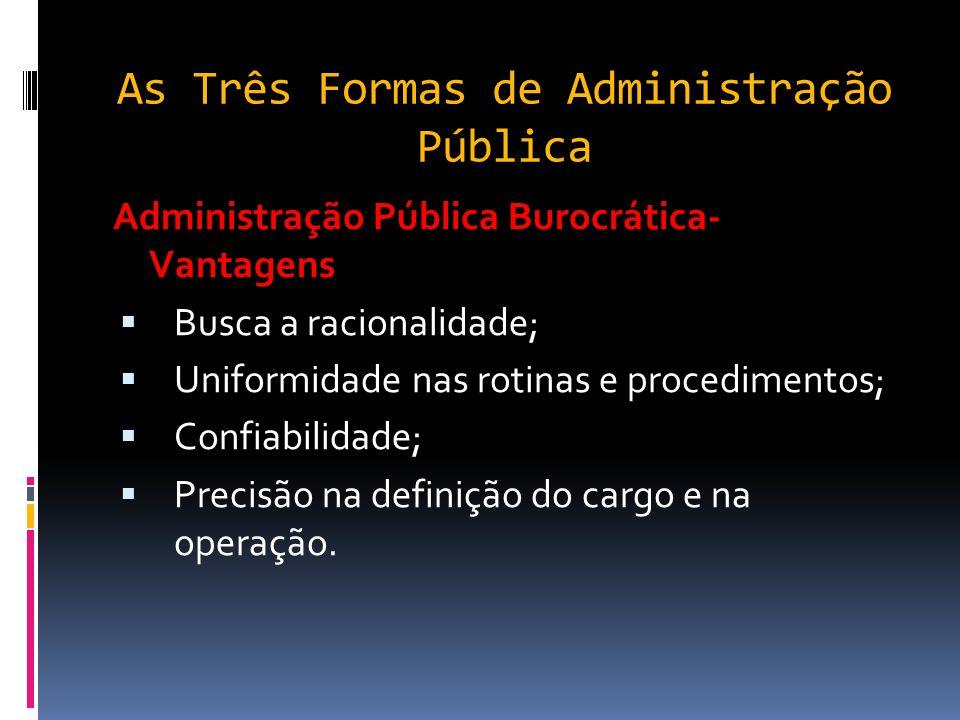 Administração Pública Burocrática  Surge na segunda metade do século XIX para combater a corrupção e o nepotismo patrimonialista;  Excesso de regras