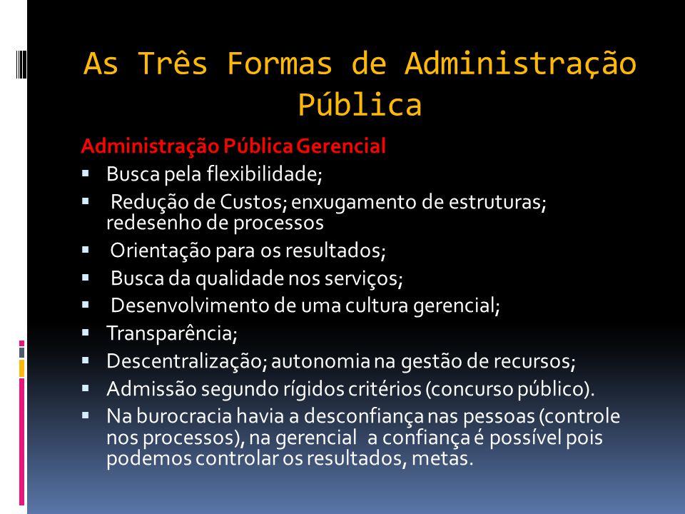 As Três Formas de Administração Pública- Tipos de Dominação/Autoridade (Max Weber) Dominação de caráter racional: Fundamenta-se em leis que estabelece