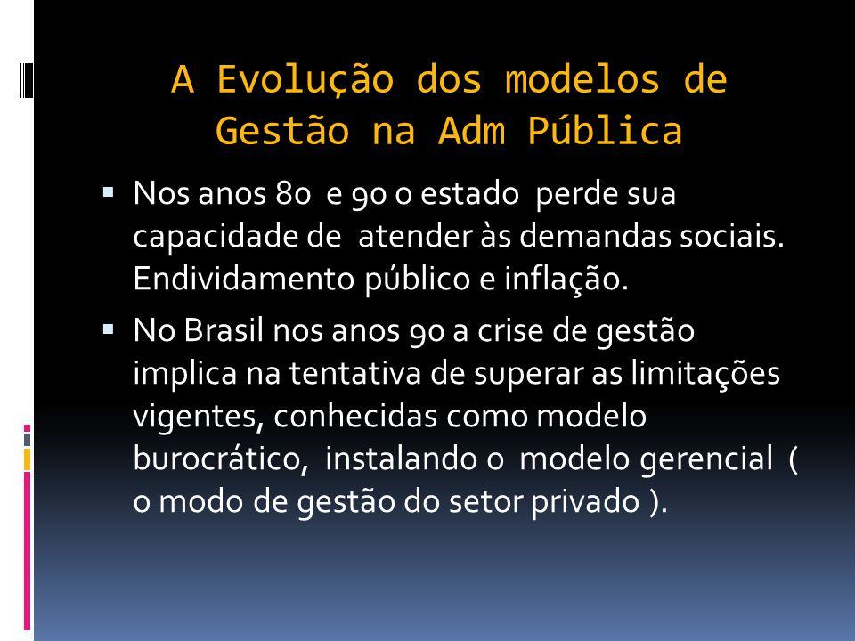 A Evolução dos modelos de Gestão na Adm Pública  Entre os anos de 1945 e 1973 a economia mundial experimentou uma grande expansão. Desenvolveu-se a f