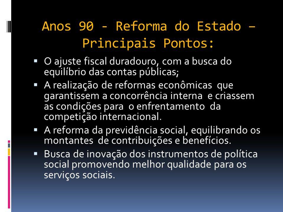 A Evolução dos modelos de Gestão na Adm Pública  Nos anos 80 e 90 o estado perde sua capacidade de atender às demandas sociais. Endividamento público