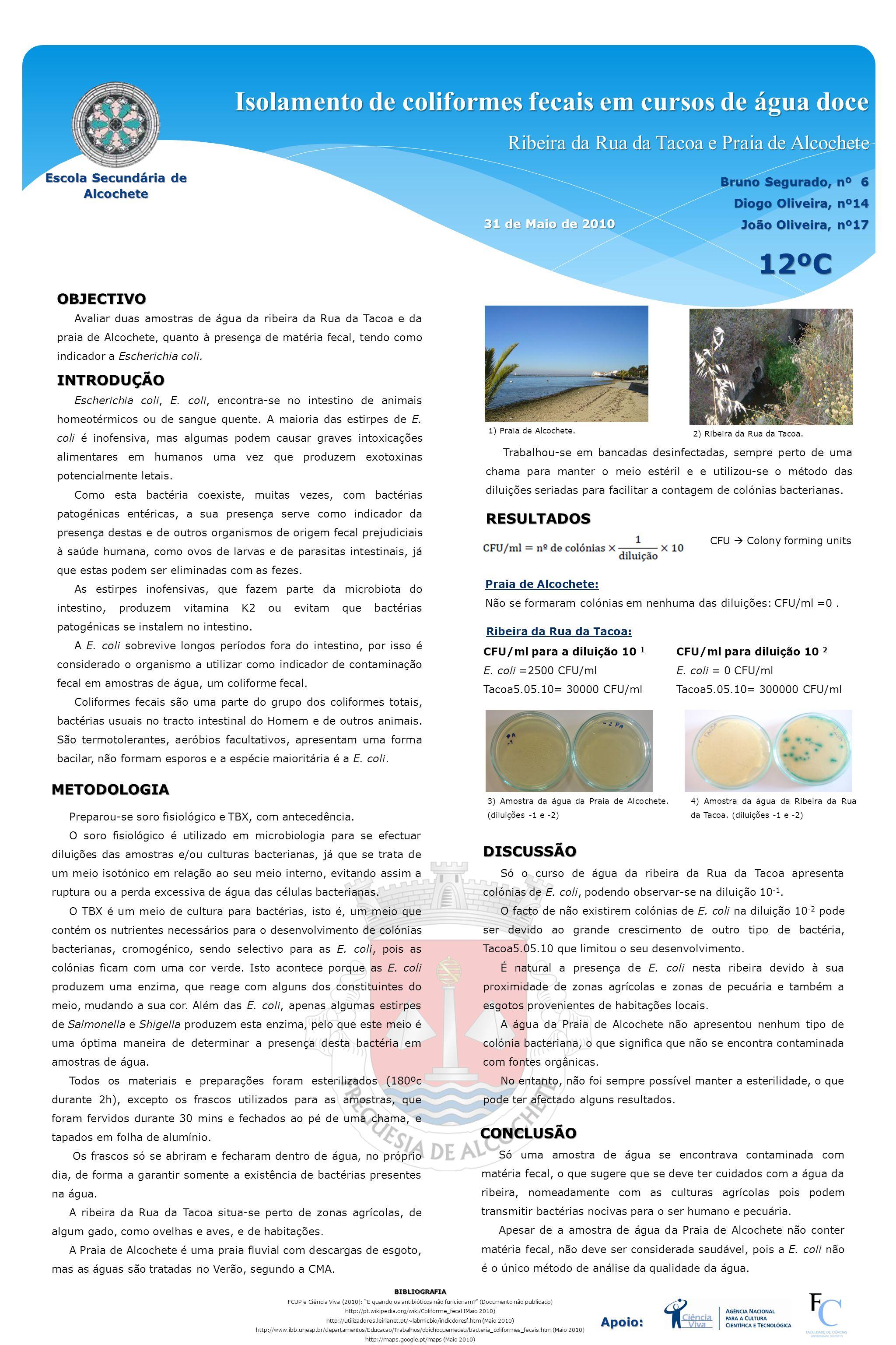 Isolamento de coliformes fecais em cursos de água doce Ribeira da Rua da Tacoa e Praia de Alcochete 12ºC OBJECTIVO Avaliar duas amostras de água da ri