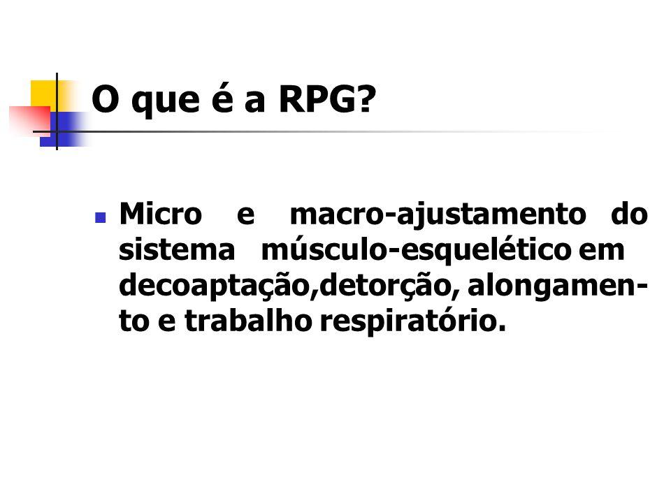 O que é a RPG? Micro e macro-ajustamento do sistema músculo-esquelético em decoaptação,detorção, alongamen- to e trabalho respiratório.