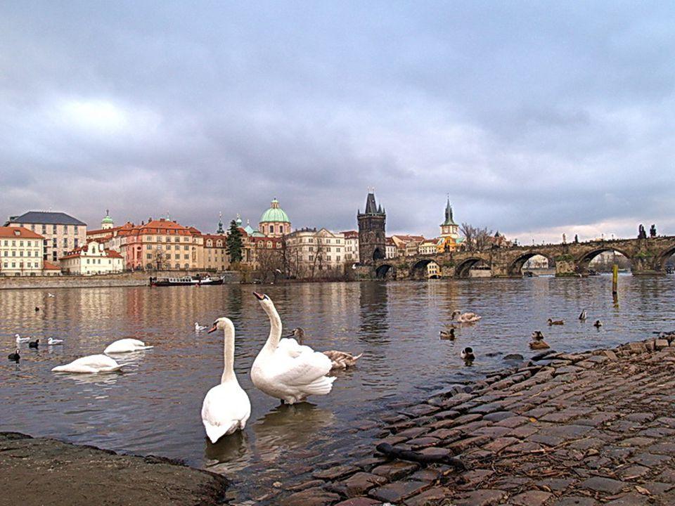 Construções à margem do Rio Vltava