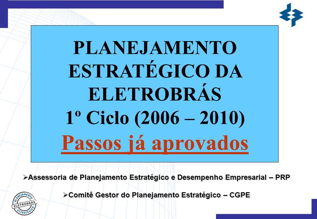 PLANEJAMENTO ESTRATÉGICO DA ELETROBRÁS 1º Ciclo (2006 – 2010) Passos já aprovados  Assessoria de Planejamento Estratégico e Desempenho Empresarial – PRP  Comitê Gestor do Planejamento Estratégico – CGPE