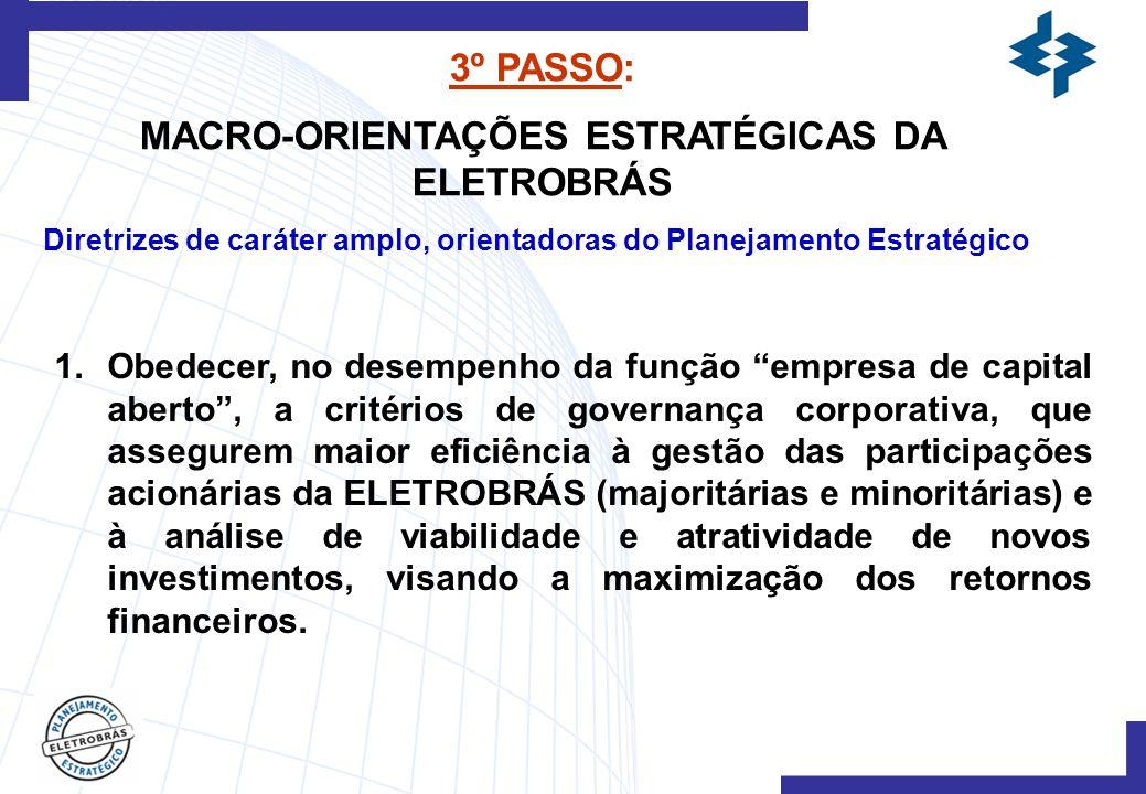 3º PASSO: MACRO-ORIENTAÇÕES ESTRATÉGICAS DA ELETROBRÁS Diretrizes de caráter amplo, orientadoras do Planejamento Estratégico 1.Obedecer, no desempenho da função empresa de capital aberto , a critérios de governança corporativa, que assegurem maior eficiência à gestão das participações acionárias da ELETROBRÁS (majoritárias e minoritárias) e à análise de viabilidade e atratividade de novos investimentos, visando a maximização dos retornos financeiros.