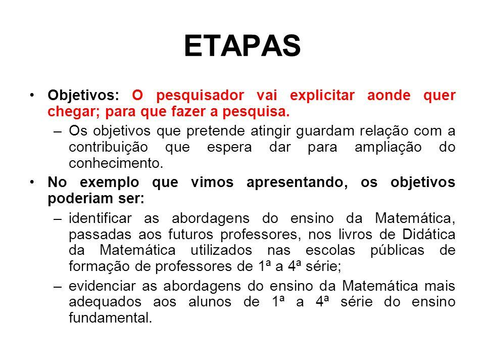 ETAPAS Objetivos: O pesquisador vai explicitar aonde quer chegar; para que fazer a pesquisa. –Os objetivos que pretende atingir guardam relação com a