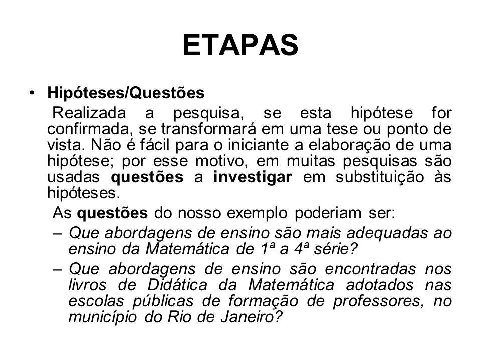 ETAPAS Hipóteses/Questões Realizada a pesquisa, se esta hipótese for confirmada, se transformará em uma tese ou ponto de vista. Não é fácil para o ini