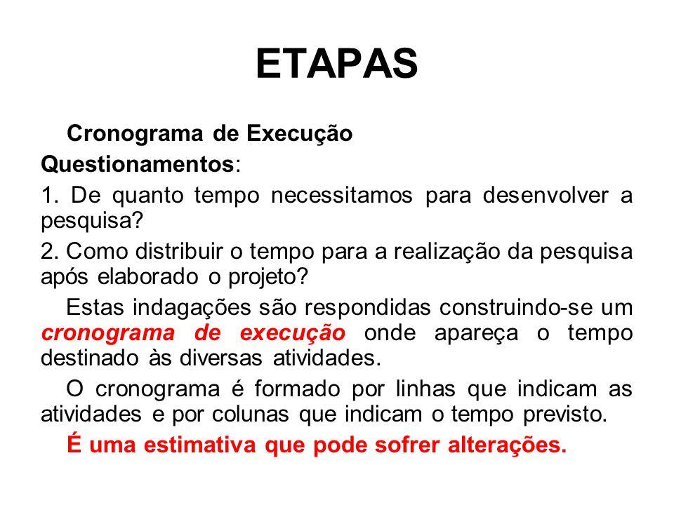 ETAPAS Cronograma de Execução Questionamentos: 1. De quanto tempo necessitamos para desenvolver a pesquisa? 2. Como distribuir o tempo para a realizaç