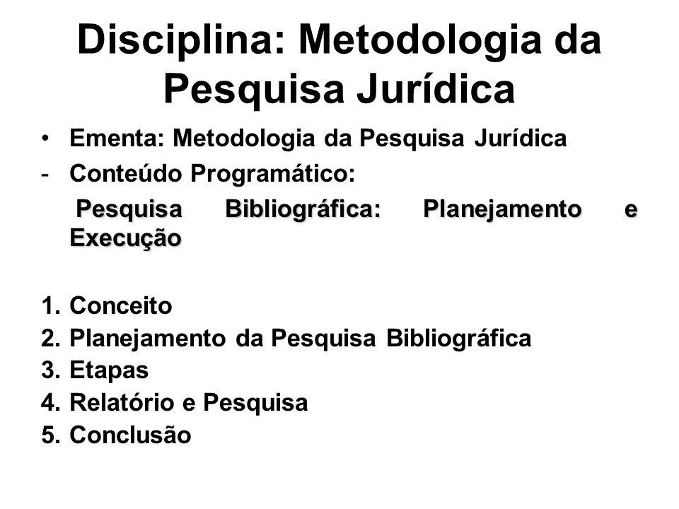 Disciplina: Metodologia da Pesquisa Jurídica Ementa: Metodologia da Pesquisa Jurídica -Conteúdo Programático: Pesquisa Bibliográfica: Planejamento e E