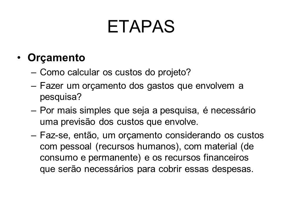 ETAPAS Orçamento –Como calcular os custos do projeto? –Fazer um orçamento dos gastos que envolvem a pesquisa? –Por mais simples que seja a pesquisa, é