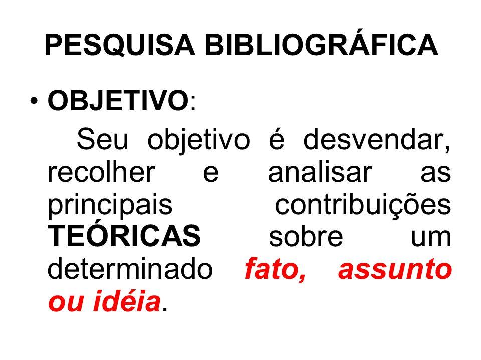 PESQUISA BIBLIOGRÁFICA OBJETIVO: Seu objetivo é desvendar, recolher e analisar as principais contribuições TEÓRICAS sobre um determinado fato, assunto