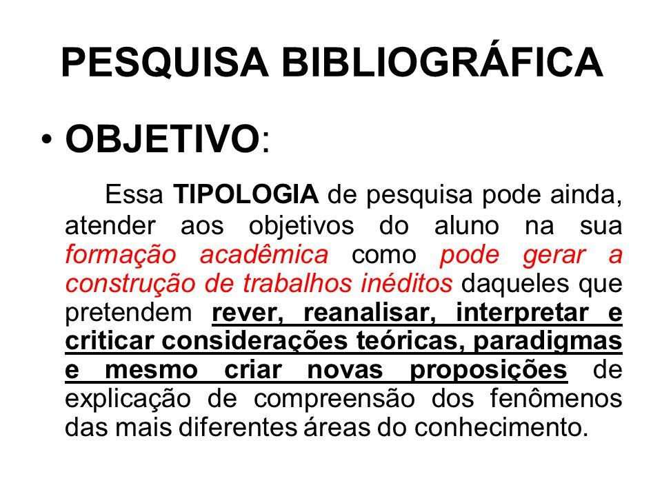 PESQUISA BIBLIOGRÁFICA OBJETIVO: Essa TIPOLOGIA de pesquisa pode ainda, atender aos objetivos do aluno na sua formação acadêmica como pode gerar a con