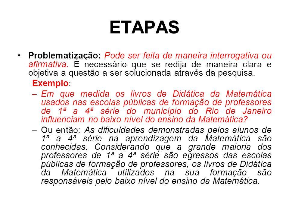 ETAPAS Problematização: Pode ser feita de maneira interrogativa ou afirmativa. É necessário que se redija de maneira clara e objetiva a questão a ser