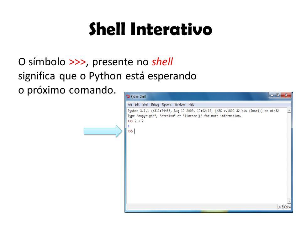 Shell Interativo O símbolo >>>, presente no shell significa que o Python está esperando o próximo comando.