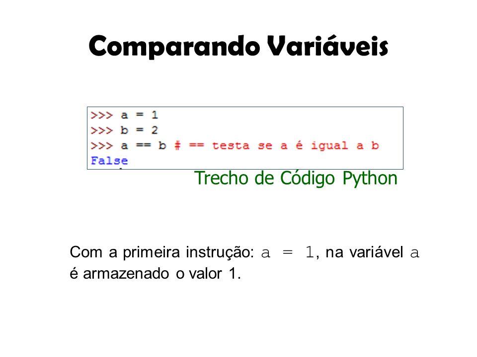 Comparando Variáveis Com a primeira instrução: a = 1, na variável a é armazenado o valor 1. Trecho de Código Python