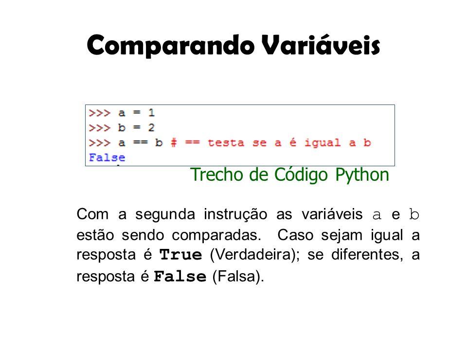 Comparando Variáveis Com a segunda instrução as variáveis a e b estão sendo comparadas. Caso sejam igual a resposta é True (Verdadeira); se diferentes