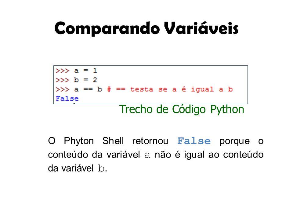 Comparando Variáveis O Phyton Shell retornou False porque o conteúdo da variável a não é igual ao conteúdo da variável b. Trecho de Código Python
