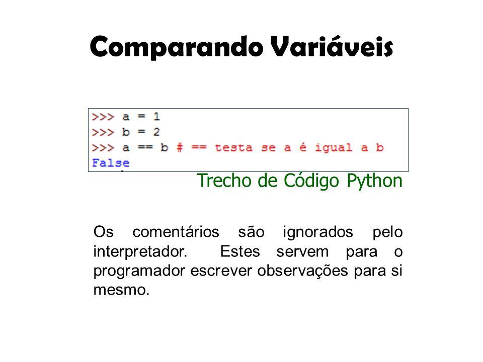 Comparando Variáveis Os comentários são ignorados pelo interpretador. Estes servem para o programador escrever observações para si mesmo. Trecho de Có