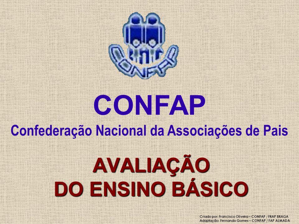 Classificação final do ensino básico Língua Portuguesa e Matemática De acordo com formula descrita no n.º 44 do Despacho normativo 1/2005 CONFAP - Confederação Nacional da Associações de Pais AVALIAÇÃO DO ENSINO BÁSICO 554445 444334 433333 Ce -- Classificação de exame 332222 Cf -- Classificação frequência 22211 1 Cf 54321Ce Cf =7Cf+3Ce 10 Criado por: Francisco Oliveira – CONFAP / FRAP BRAGA Adaptação: Fernando Gomes – CONFAP / FAP ALMADA