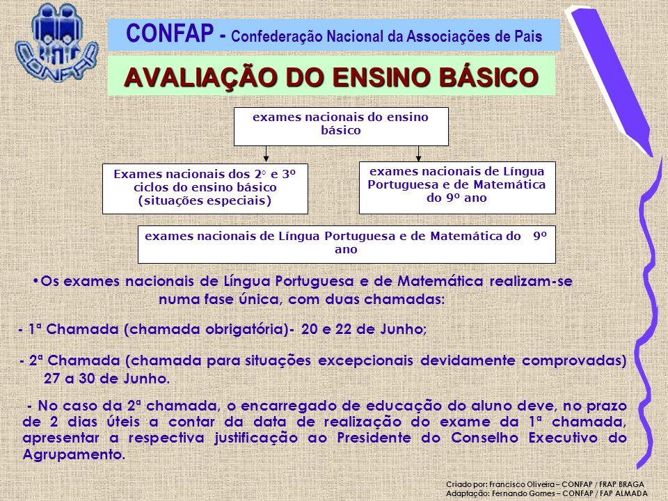 exames nacionais do ensino básico Exames nacionais dos 2° e 3º ciclos do ensino básico (situações especiais) exames nacionais de Língua Portuguesa e d