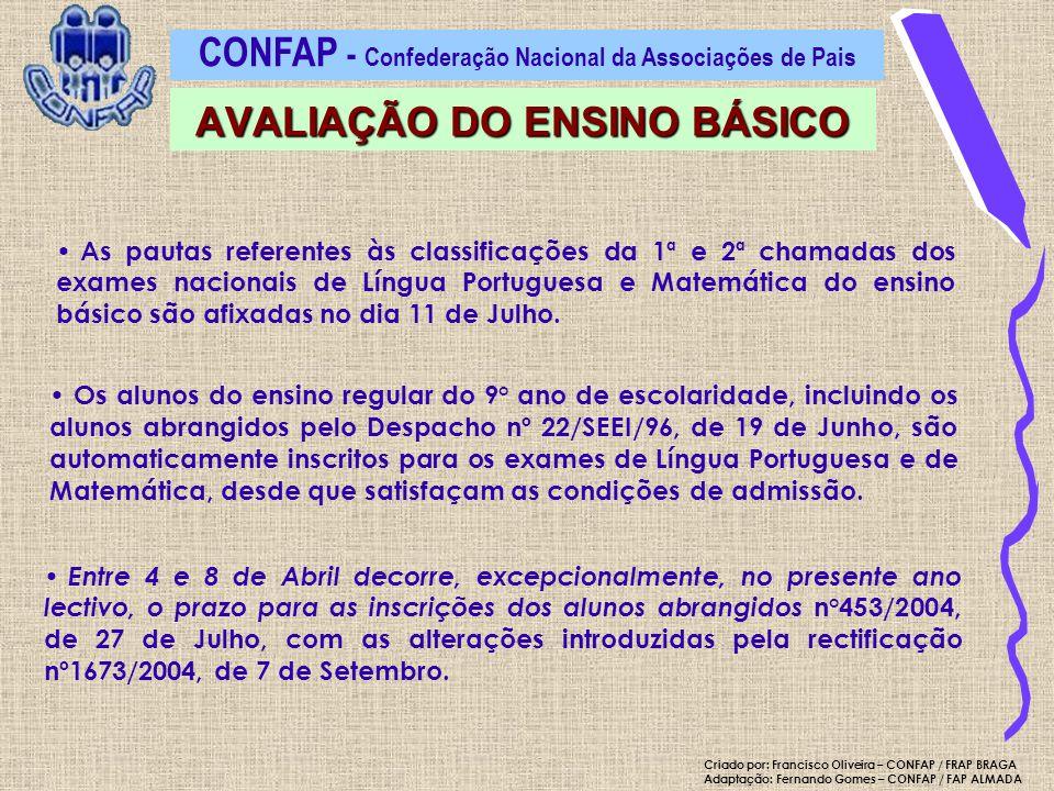 CONFAP - Confederação Nacional da Associações de Pais AVALIAÇÃO DO ENSINO BÁSICO Criado por: Francisco Oliveira – CONFAP / FRAP BRAGA Adaptação: Ferna