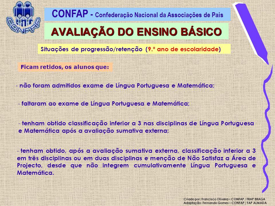 Ficam retidos, os alunos que: - não foram admitidos exame de Língua Portuguesa e Matemática; - faltaram ao exame de Língua Portuguesa e Matemática; -
