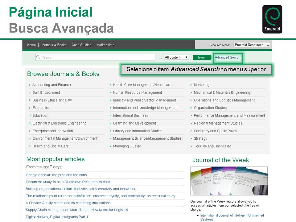 Página Inicial Busca Avançada Selecione o item Advanced Search no menu superior