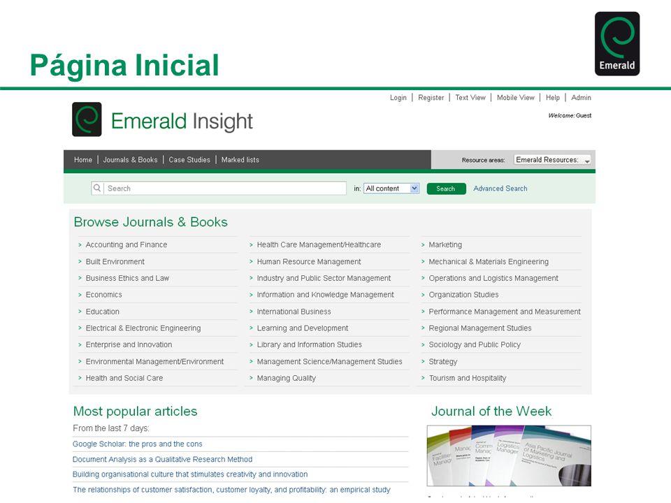 Página Inicial Site de Conteúdo Site com informações sobre a Emerald, nossos diferentes sites, produtos e serviços Notícias da área, oportunidades de carreiras na Emerald e informações sobre nossas redes sociais