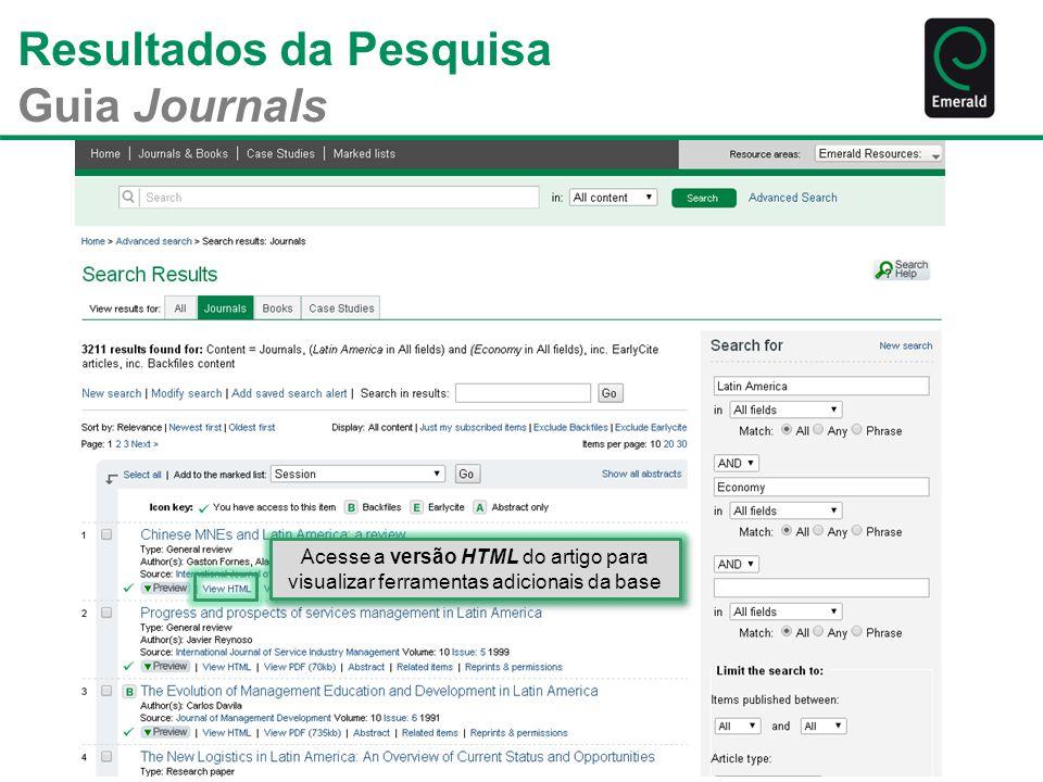 Resultados da Pesquisa Guia Journals Acesse a versão HTML do artigo para visualizar ferramentas adicionais da base