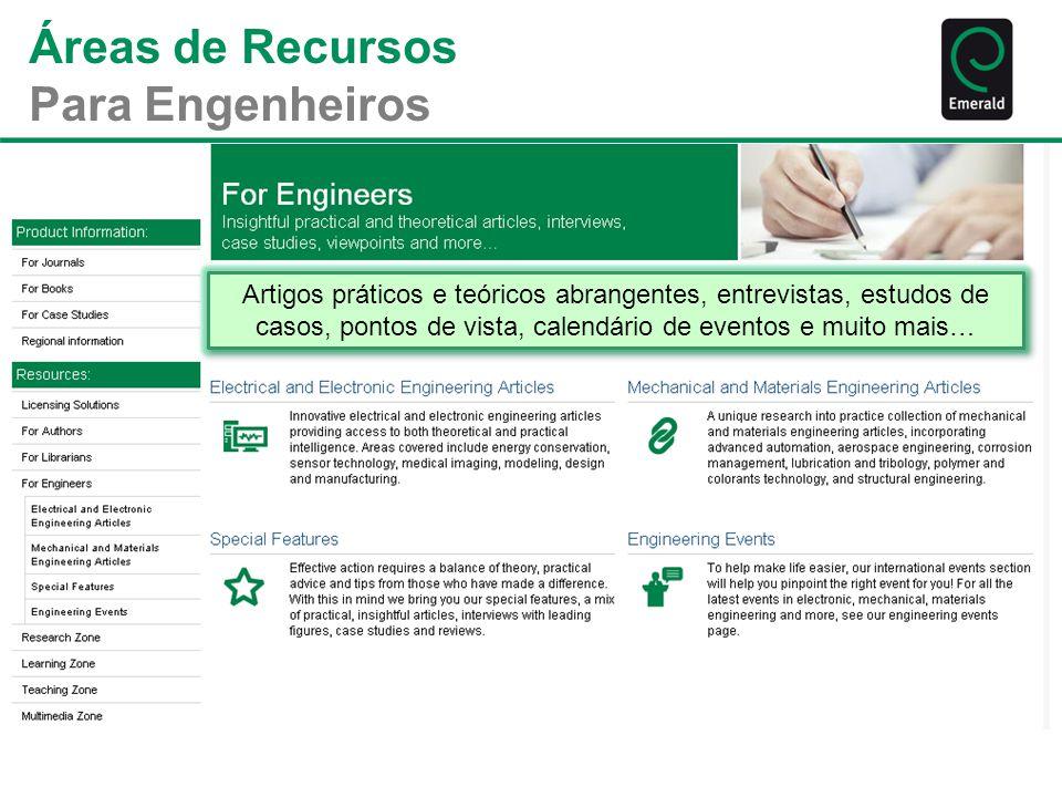 Áreas de Recursos Para Engenheiros Artigos práticos e teóricos abrangentes, entrevistas, estudos de casos, pontos de vista, calendário de eventos e mu