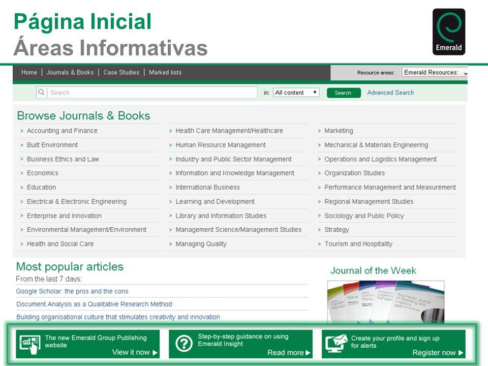 Página Inicial Áreas Informativas