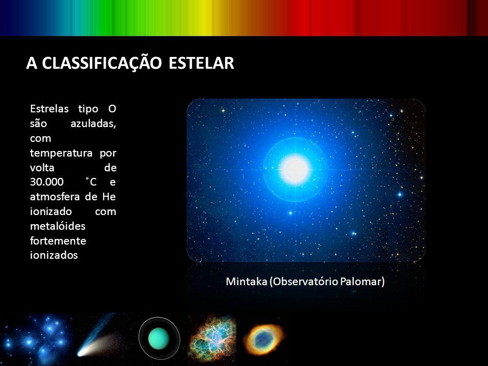 A CLASSIFICAÇÃO ESTELAR Estrelas tipo O são azuladas, com temperatura por volta de 30.000 ̊C e atmosfera de He ionizado com metalóides fortemente ioni