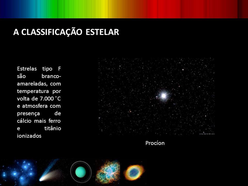 A CLASSIFICAÇÃO ESTELAR Estrelas tipo F são branco- amareladas, com temperatura por volta de 7.000 ̊C e atmosfera com presença de cálcio mais ferro e