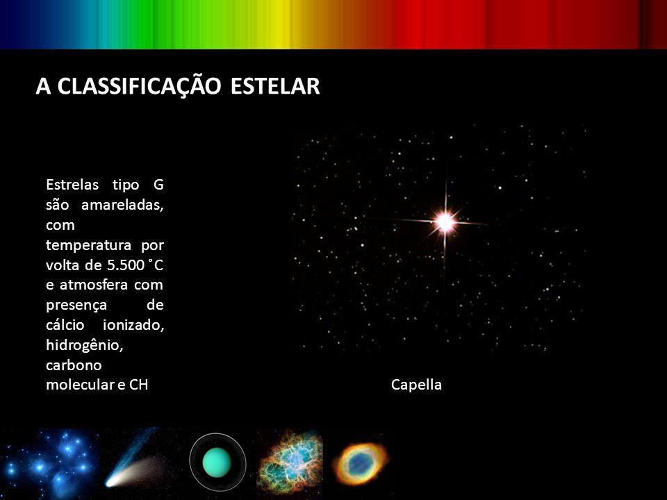 A CLASSIFICAÇÃO ESTELAR Estrelas tipo G são amareladas, com temperatura por volta de 5.500 ̊C e atmosfera com presença de cálcio ionizado, hidrogênio,