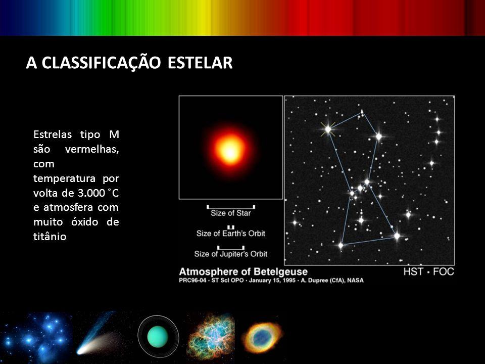 A CLASSIFICAÇÃO ESTELAR Estrelas tipo M são vermelhas, com temperatura por volta de 3.000 ̊C e atmosfera com muito óxido de titânio