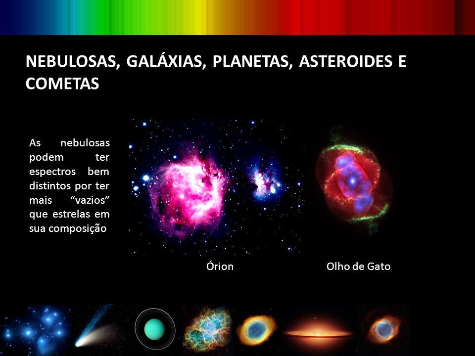 """NEBULOSAS, GALÁXIAS, PLANETAS, ASTEROIDES E COMETAS As nebulosas podem ter espectros bem distintos por ter mais """"vazios"""" que estrelas em sua composiçã"""