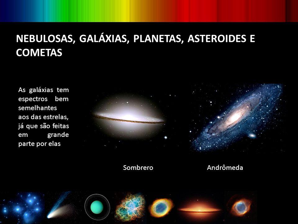 NEBULOSAS, GALÁXIAS, PLANETAS, ASTEROIDES E COMETAS As galáxias tem espectros bem semelhantes aos das estrelas, já que são feitas em grande parte por