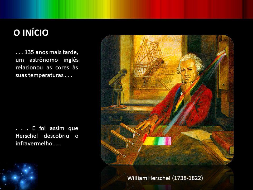 O INÍCIO... 135 anos mais tarde, um astrônomo inglês relacionou as cores às suas temperaturas...... E foi assim que Herschel descobriu o infravermelho