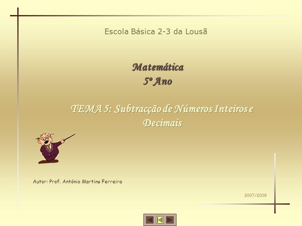 Escola Básica 2-3 da Lousã Matemática 5º Ano Autor: Prof. António Martins Ferreira 2007/2008