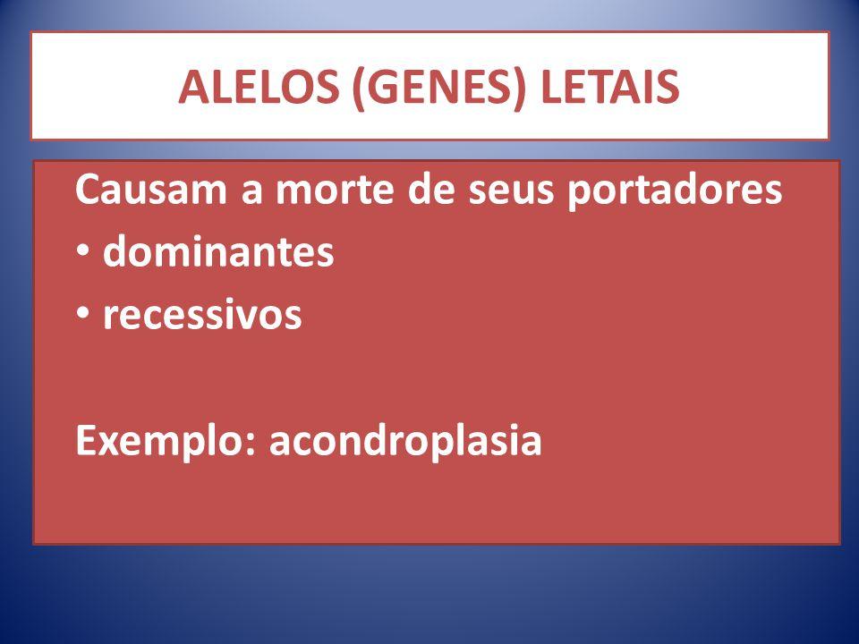 ALELOS (GENES) LETAIS Causam a morte de seus portadores dominantes recessivos Exemplo: acondroplasia
