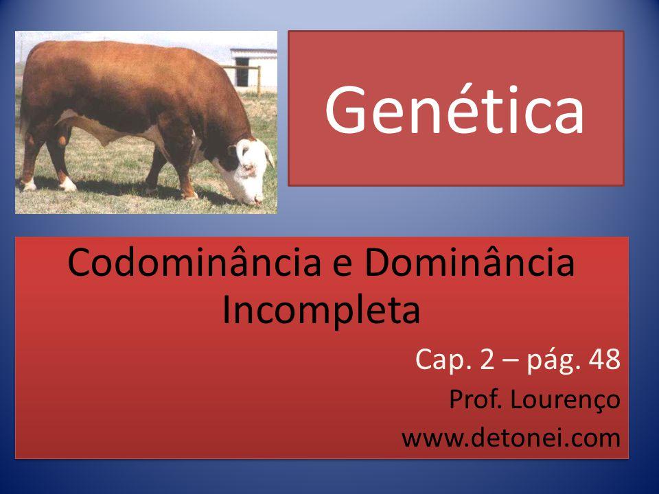Genética Codominância e Dominância Incompleta Cap. 2 – pág. 48 Prof. Lourenço www.detonei.com Codominância e Dominância Incompleta Cap. 2 – pág. 48 Pr